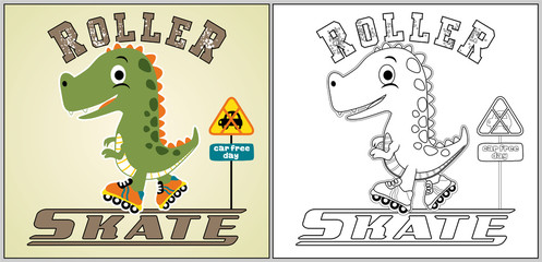 play roller skate with dino, vector cartoon, coloring page or book