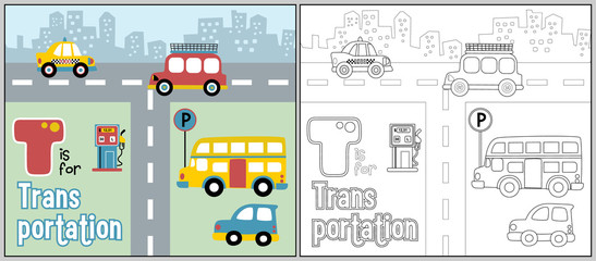 road traffic cartoon with coloring vehicles, coloring book or page