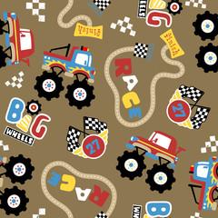 vector seamless pattern of monster truck race cartoon