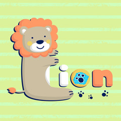 Deurstickers Hoogte schaal funny lion cartoon shaped L letter on striped background