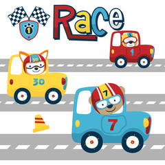 vector cartoon of car racing with cute racer