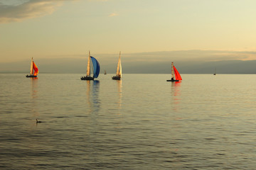 Beautiful sunset at the Lake Geneva in Lausanne, Switzerland, with colorful sailboats