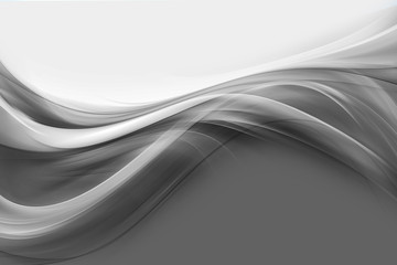 Poster Fractal waves Abstract flow dark grey waves background