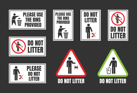 Do not litter signs set, keep clean icons