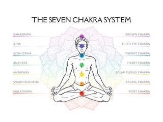 Seven chakra system in human body, infographic with meditating yogi man, vector illustration