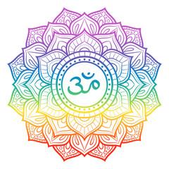 Rainbow mandala, sahasrara crown chakra symbol, decorative ornament, vector illustration