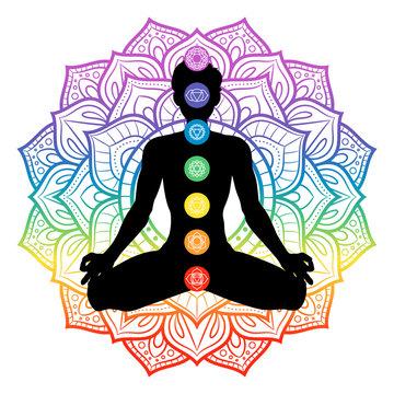 Seven chakras on meditating yogi man silhouette, vector illustration