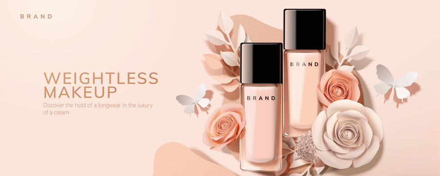 Flat lay foundation in glass bottle