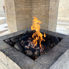 Azerbaijan. Ateshgah fire temple, burning natural gas outlets, Azerbaijan
