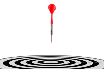 Arrow flying to center of the target successfuly, financial success image, business target image