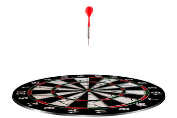 Red arrow hitting to center of the target successfuly, financial success image, business target image