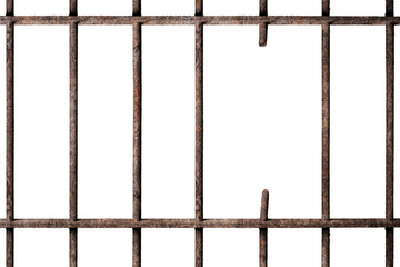 Prison cell with broken old prison bars isolated on white background, way out to freedom