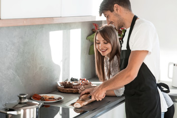 close up. beautiful young couple preparing Breakfast togethe