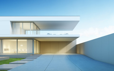 Architecture design of modern luxury house,Villa with wood terrace and swimming pool on sea view background,Idea of exterior. 3D rendering.