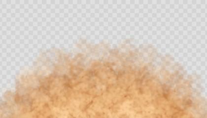 Fototapeta Dust cloud isolated on transparent background. Sand storm, beige powder explosion, desert wind concept. Realistic vector illustration. obraz