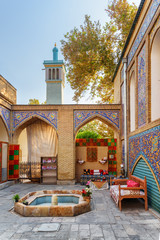 Beautiful colorful courtyard of the Golestan Palace in Tehran