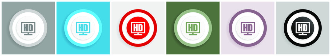 Hd display icon set, colorful flat design vector illustrations in 6 options for web design and mobile applications