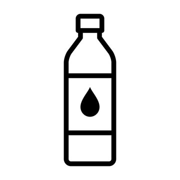 A bottle of drinking water or bottled water beverage line art vector icon for apps and websites