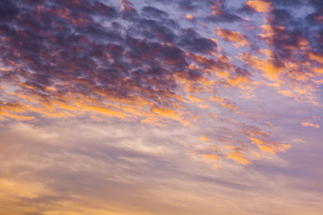 climate sunset sky with fluffy clouds and beautiful heavy weather landscape for use as background images