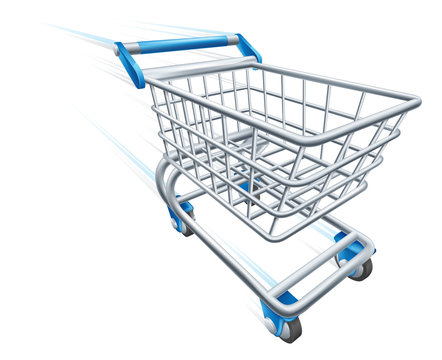 A fast shopping cart trolley travelling at high speed with whoosh marks