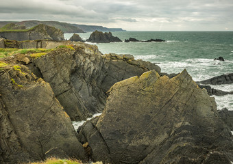 Rocky Outcrop in a Cornish Coastline, England