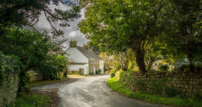 English Country Lane and Cottage, Cornwall