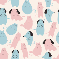 Seamless pattern with cute cat and dog animal pastel colors blue and pink on white background. Funny drawing for children, kids, baby fashion apparel textile print vector illustration.