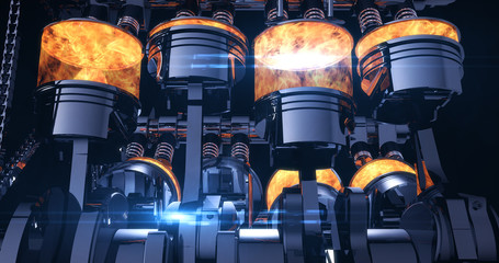 Fuel Injected V8 Engine With Explosions. Pistons And Other Mechanical Parts - 3D Illustration Render Fotomurales