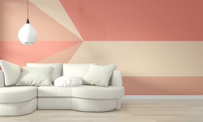 Ideas of living coral living room Geometric Wall Art Paint Design color full style on wooden floor.3D rendering