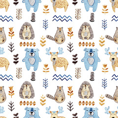 Watercolor seamless pattern with forest wildlife animals and herbs. Cute cartoon characters in scandinavian style. Best for textile, wallpaper, decoration, fabric, children design, wrapping paper
