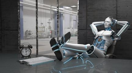 Fotorolgordijn Scooter Relaxing white robot in the break room. 3d illustration.