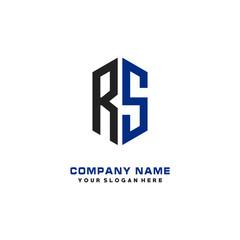 RS Initial Letter Logo Hexagonal Design, initial logo for business,