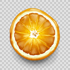 Orange or lemon cut in half slice top view isolated on transparent background. Citrus fruit design element for juice drink packaging advertising, organic food Realistic 3d vector illustration clip art