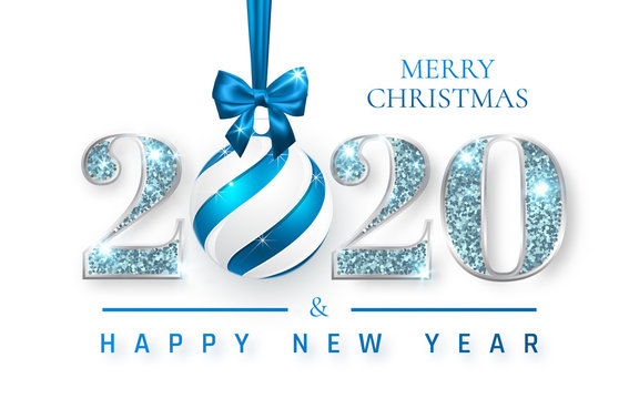 Happy New Year 2020, silver numbers design of greeting card, Xmas ball with blue bow, Vector illustration