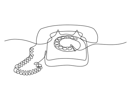 Old style telephone in continuous line art drawing style. Minimalistic black line sketch on white background. Vector illustration