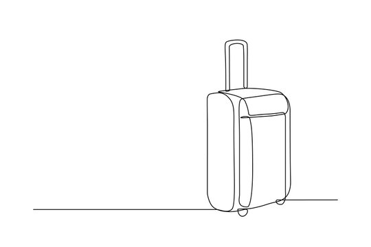 Travel suitcase in continuous line drawing style. Luggage valise with wheels and retractable handle black line sketch on white background. Vector illustration