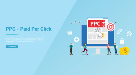 ppc paid or pay per click concept with people team for website template or banner landing homepage - vector