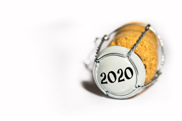 Sekt Korken 2020 isoliert