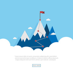 Landscape vector flat flag on blue mountains. The victory of success. Goal achievement. Business concept. Winning of competition design for website and template.
