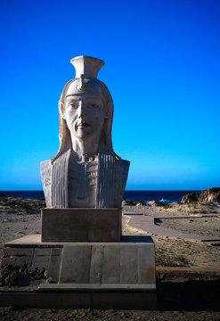 Statue of Cleopatra at the Cleopatra beach near Mersa Matruh in Egypt