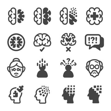 alzheimer disease icon set,vector and illustration