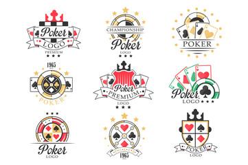 Fototapeta Poker logo set, vintage emblems for poker club, casino, championship vector Illustrations on a white background