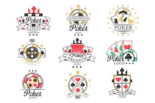 Poker logo set, vintage emblems for poker club, casino, championship vector Illustrations on a white background