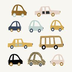 Printed kitchen splashbacks Cartoon cars Kids illustration with cute cars