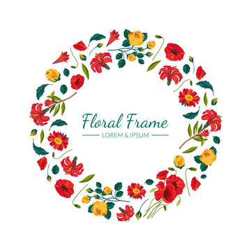 Floral Round Frame with Beautiful Summer Flowers