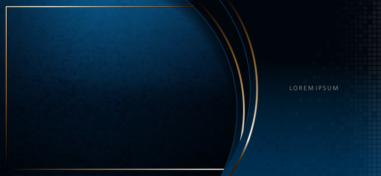Abstract elegant dark blue texture composition with two arcs with a gold border