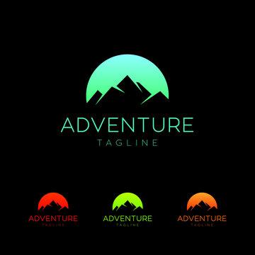 mountain adventure hiking camping night logo vector illustrator