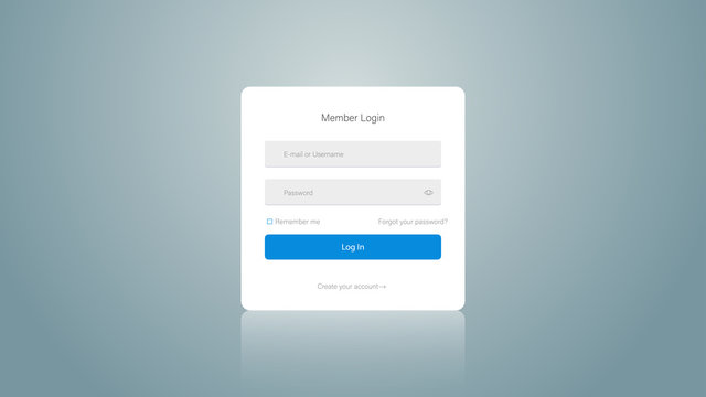 Web site login screen and window of sign up. Web design. Interface Elements Template.