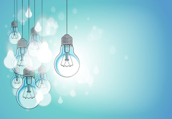 Idea concept light bulbs vector illustration with single one is shining, think different, creativity, be special, leadership. Composition with copy space for text.