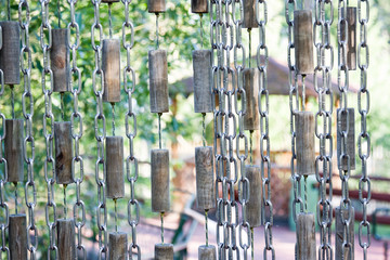 Chains curtain for safty in zoo, background